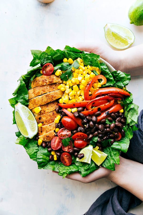Chili Lime Chicken Salad areal view in a white bowl.