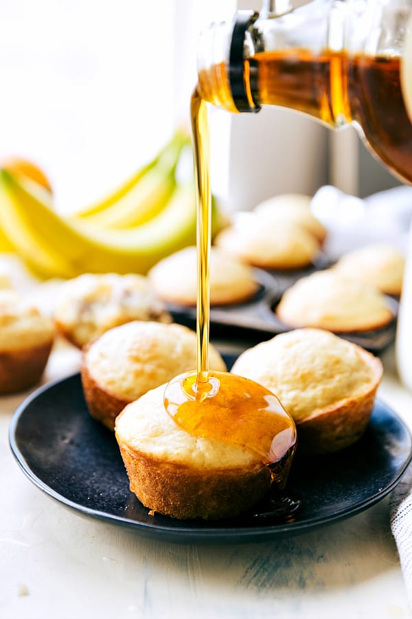 Sausage Pancake Muffins are perfectly moist and tender pancake muffins filled with sausage and drizzled in maple syrup.
