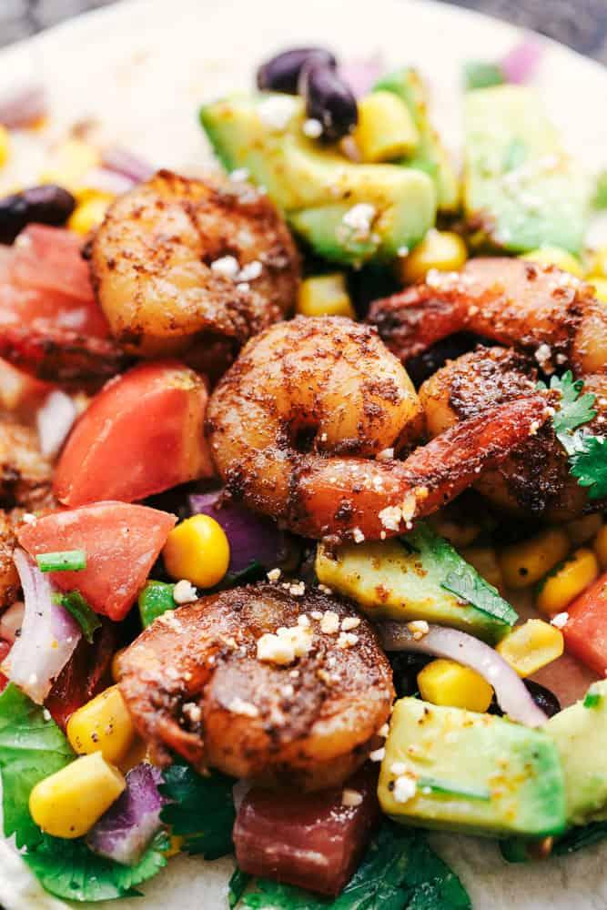 Blackened Cajun Shrimp Tacos with Avocado Salsa