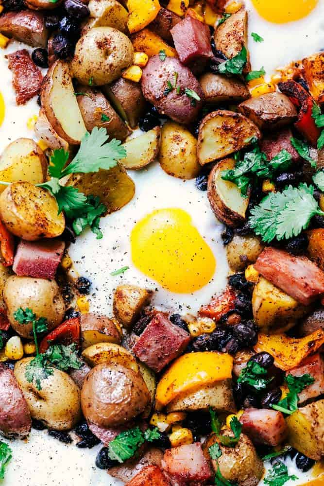 Southwest Baked Ham and Eggs Potato Hash