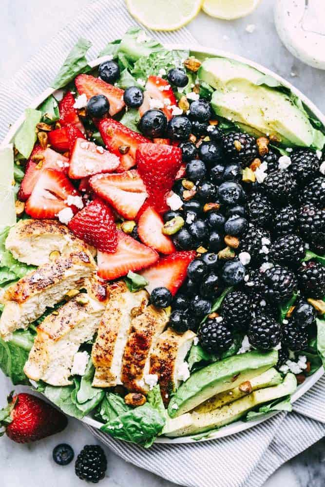 Triple Berry Chicken Avocado Salad with a Creamy Lemon Poppyseed Dressing