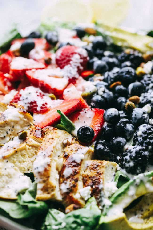 Triple Berry Chicken Avocado Salad with a Creamy Lemon Poppyseed Dressing.