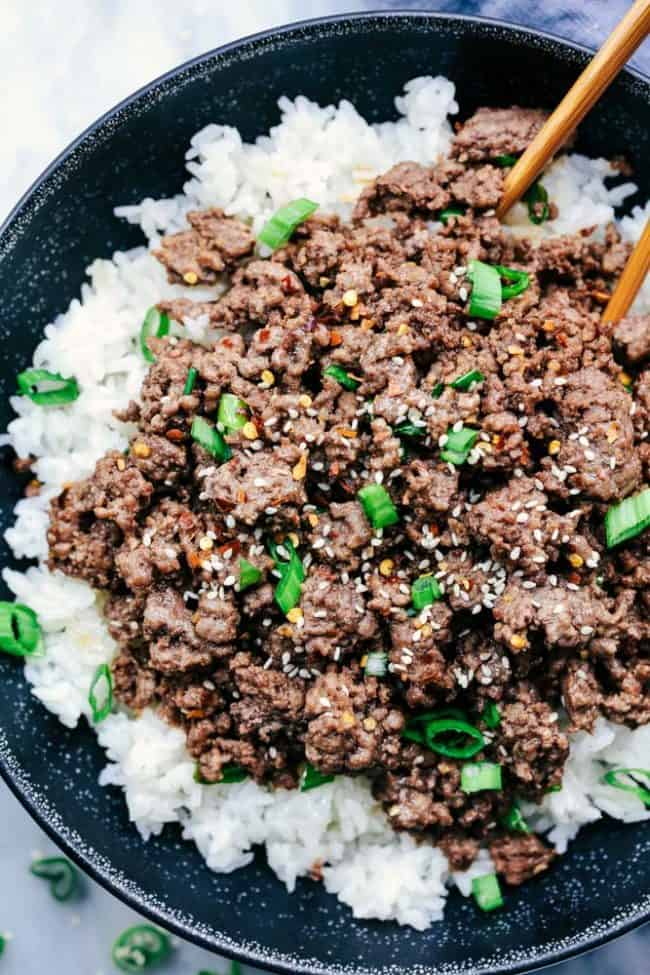 Korean Ground Beef and Rice Bowls 3