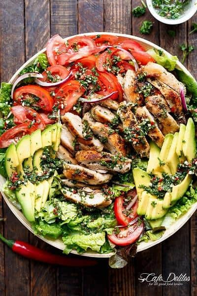 Grilled Chimichurri Chicken Avocado Salad