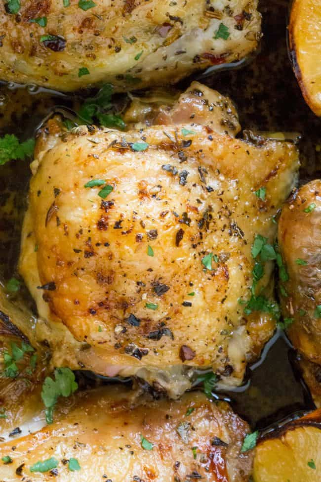 Easy Greek Lemon Chicken close up.
