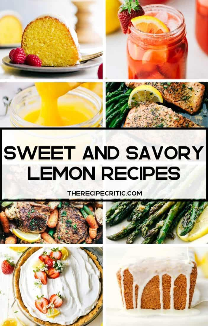 Collage of lemon recipes.