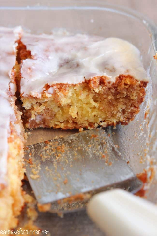 Slice of honeybun cake in a pan