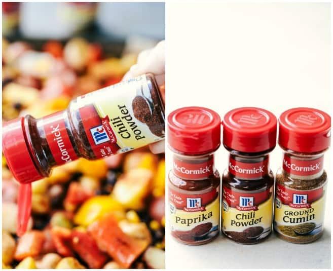Chili powder, ground cumin, and paprika seasoning jars.