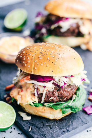 Asian Barbecue Burgers with Sweet Chili Lime Mayo