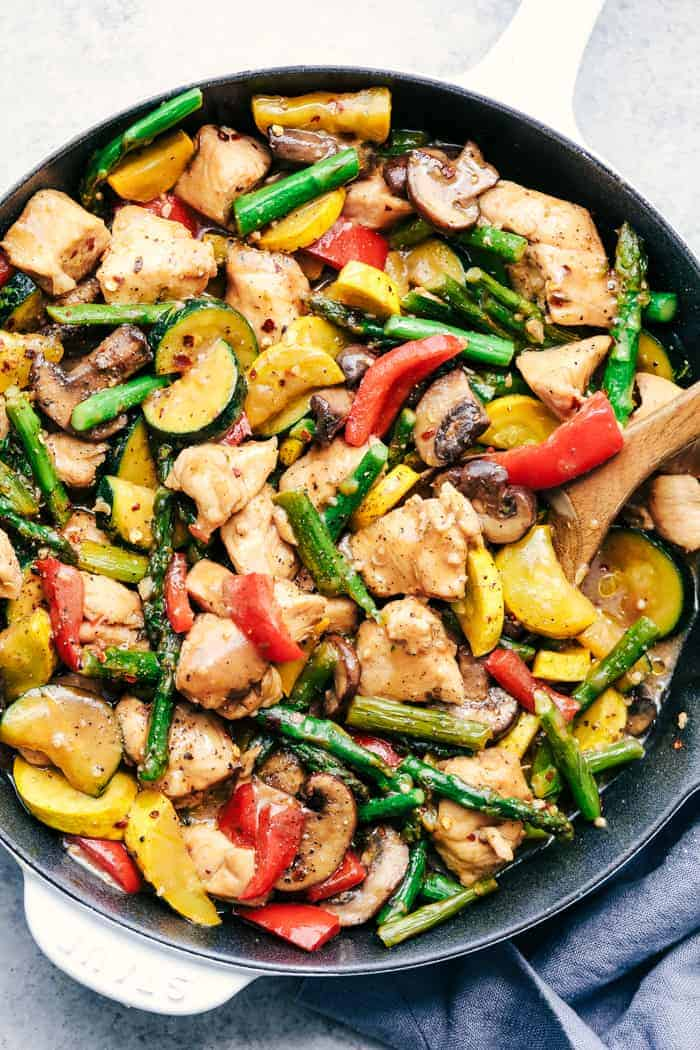 Honey Garlic Chicken Stir Fry in a black skillet.