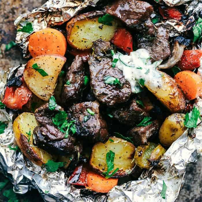 Butter garlic herb steak foil packets the recipe critic prep time ccuart Choice Image