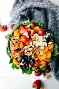 Almond Berry Chicken Spinach Salad