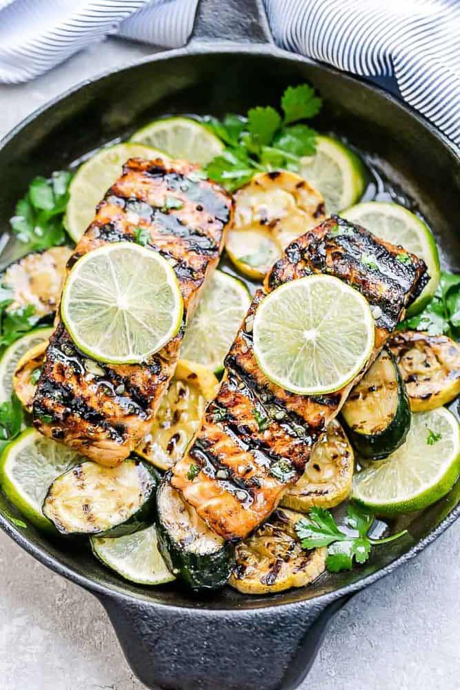 This Grilled Honey Lime Salmon in a black skillet.