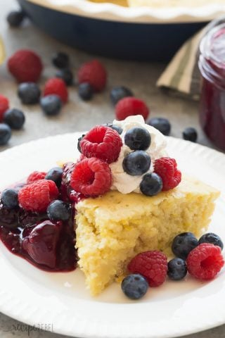 Lemon Baked Pancake with Berry Sauce