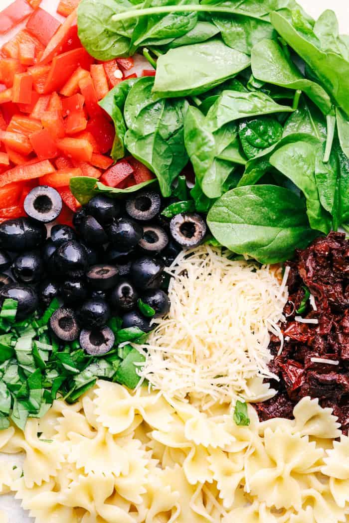 Tuscan Pasta Salad ingredients.
