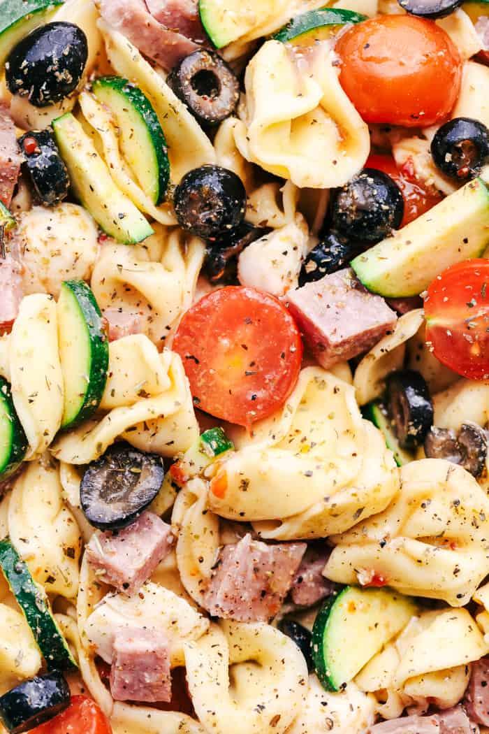 Easy Italian Tortellini Pasta Salad close up on ingredients.