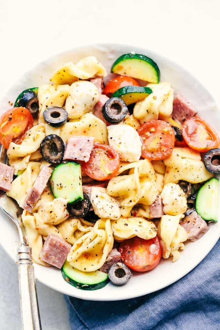 Easy Italian Tortellini Pasta Salad on a white plate.