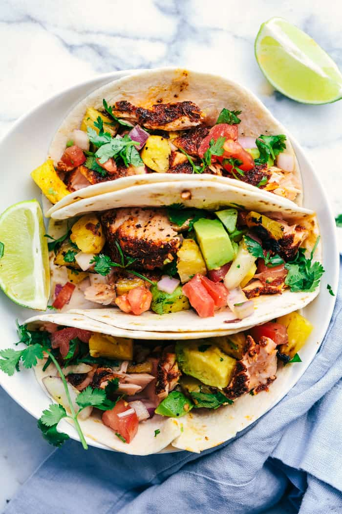 Grilled Spicy Blackened Salmon Tacos with Pineapple Avocado Salsa 4