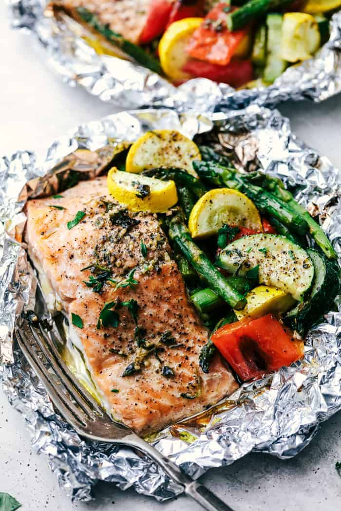 Butter Garlic Herb Salmon Foil Packets The Recipe Critic