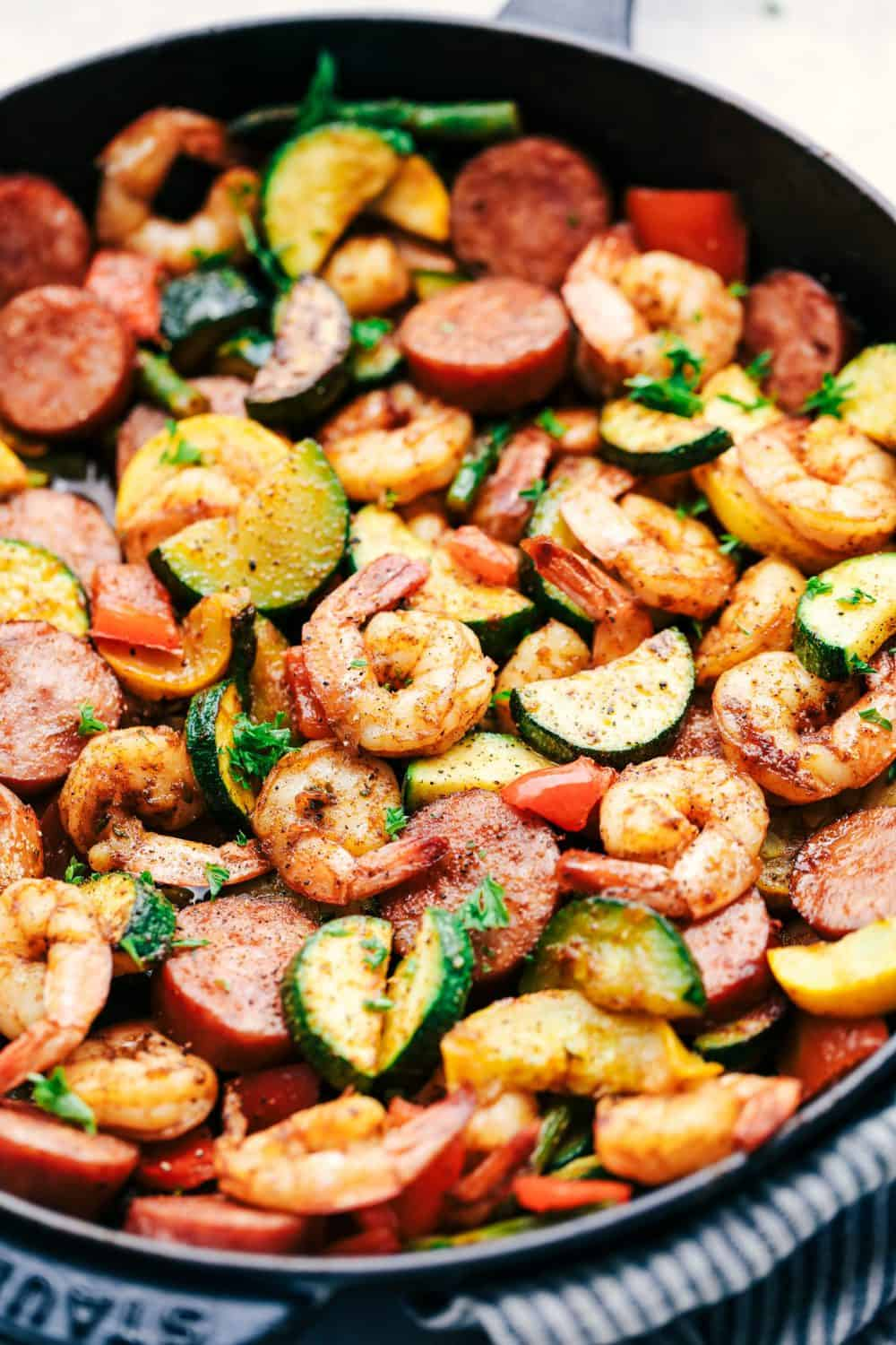 Cajun Shrimp and Sausage Vegetables in a Skillet