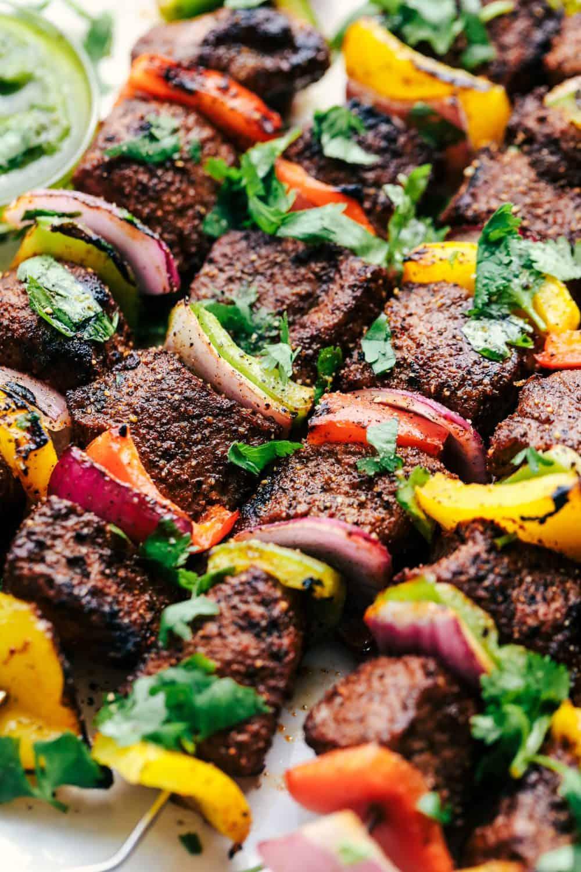 Grilled Steak Fajita Skewers close up.