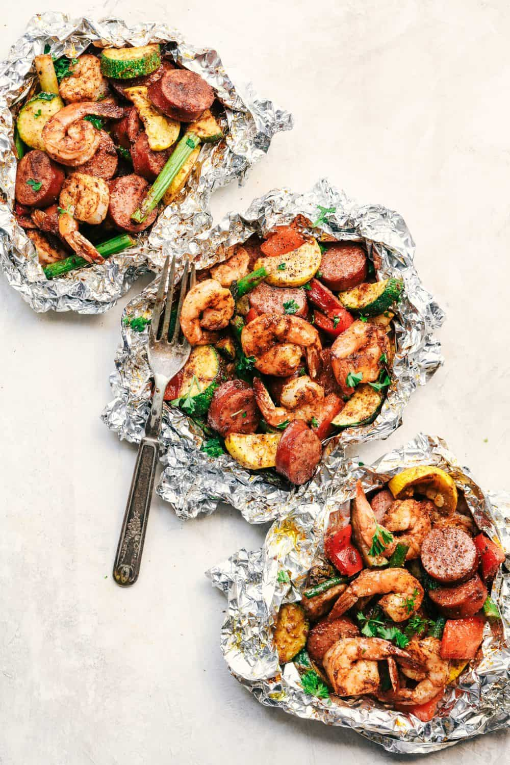Cajun Shrimp and Sausage Vegetable Foil Packets 3