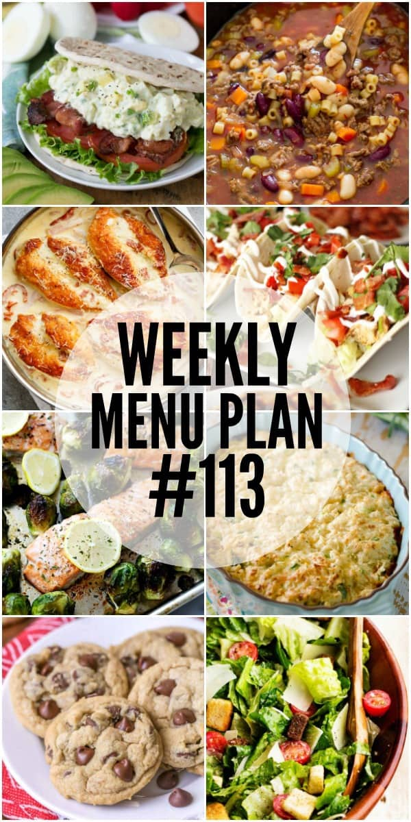 WEEKLY MENU PLAN (#113) -Seven talented bloggers bringing you a full week of recipes including dinner, sides dishes, and desserts!
