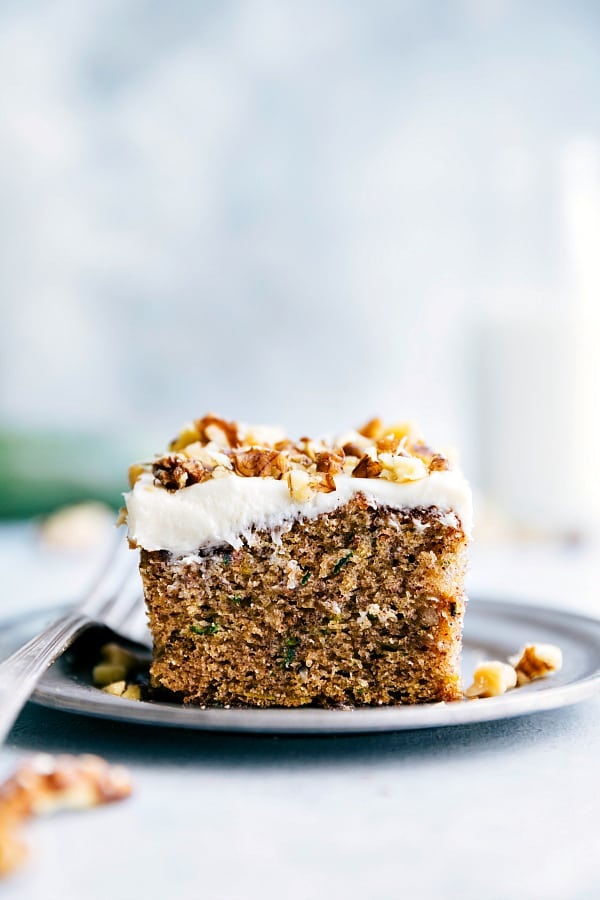 Cinnamon Zucchini Walnut Cake with Cream Cheese Frosting