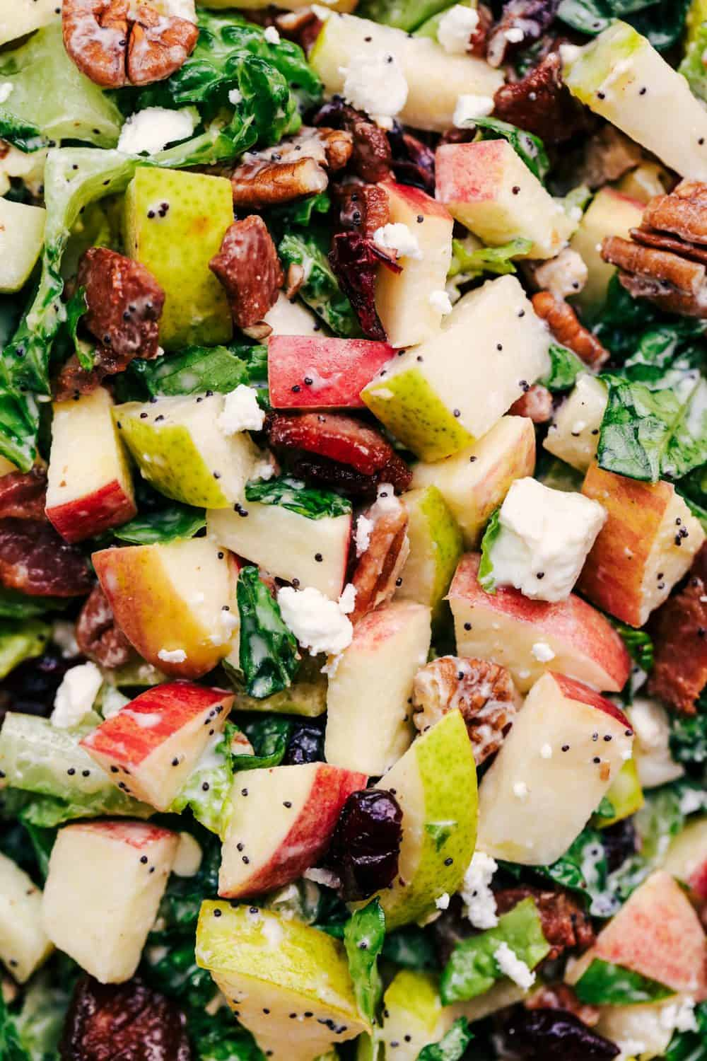 Autumn Chopped Salad with Creamy Poppyseed Dressing close up