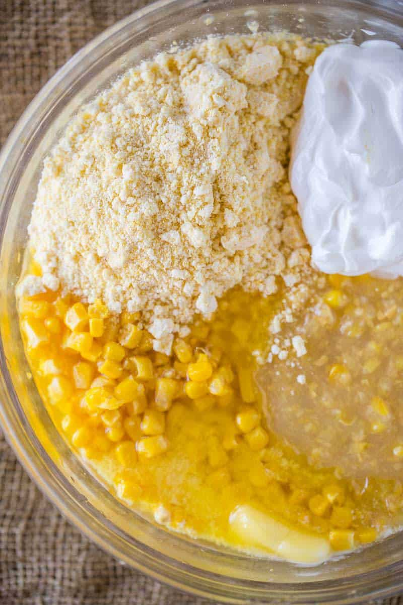 5 Ingredient Corn Casserole in the oven in less than five minutes, it's the perfect side dish for the holidays with almost no effort at all!