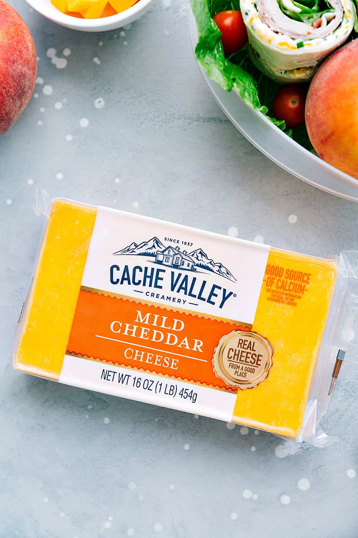 Mild cheddar cheese in a package.