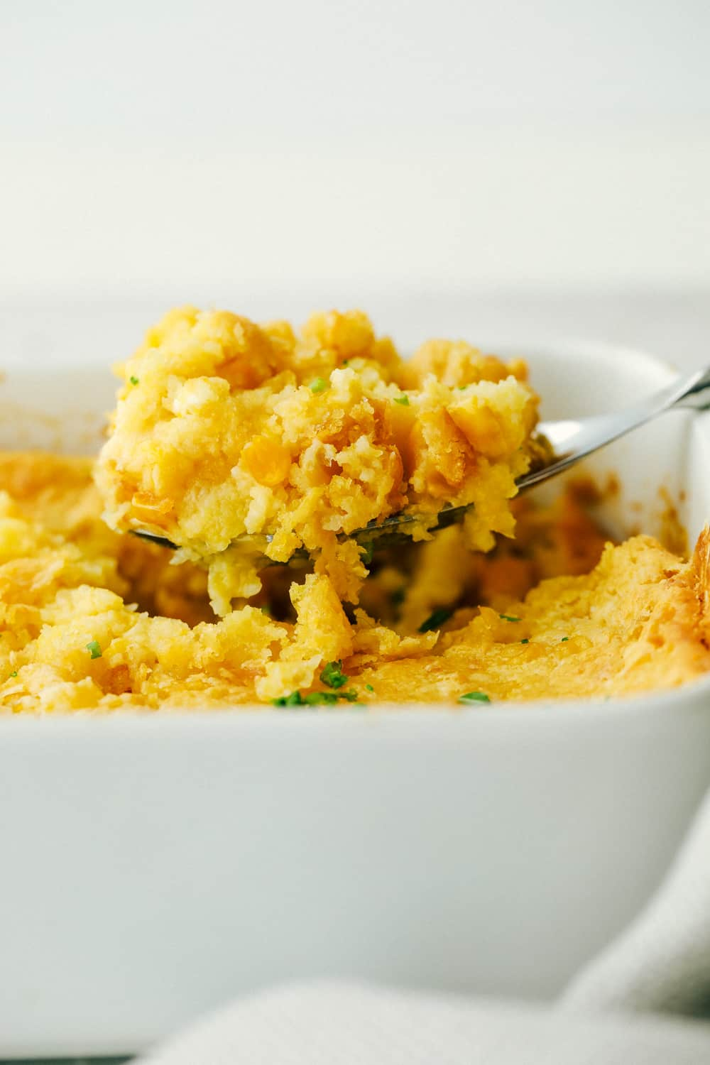 Creamy, inside, golden crust outside, 5 ingredient Corn Casserole.