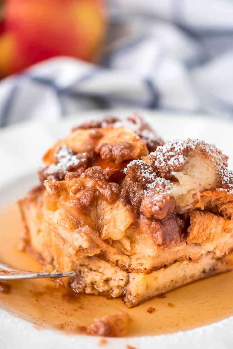 Overnight Cinnamon Apple French Toast Casserole on a white plate.
