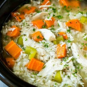 This slow cooker chicken and rice soup is an easy and comforting meal that's perfect for cold nights!