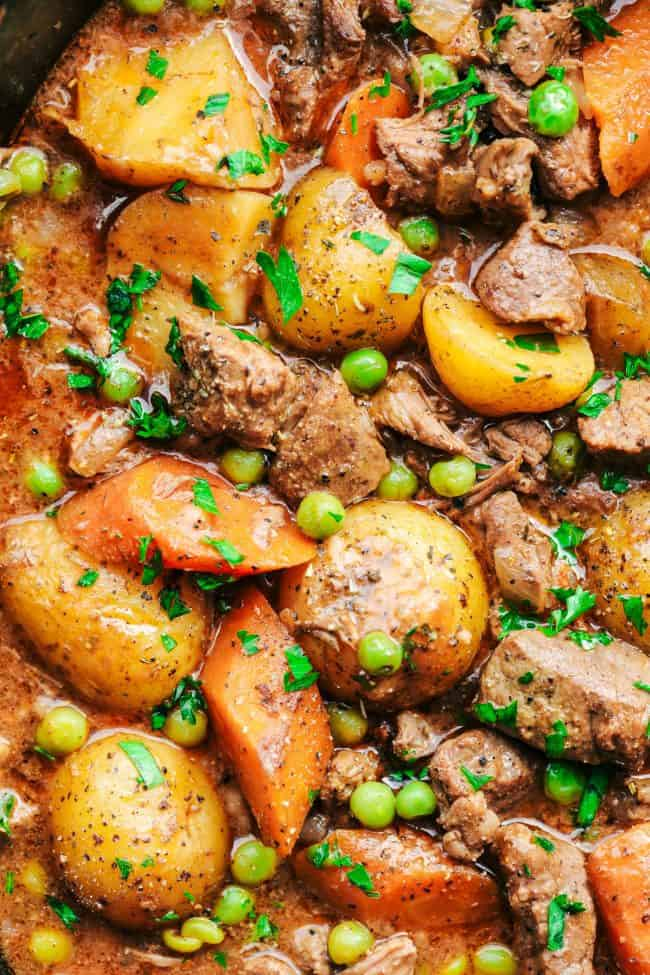 Best Ever Slow Cooker Beef Stew close up.