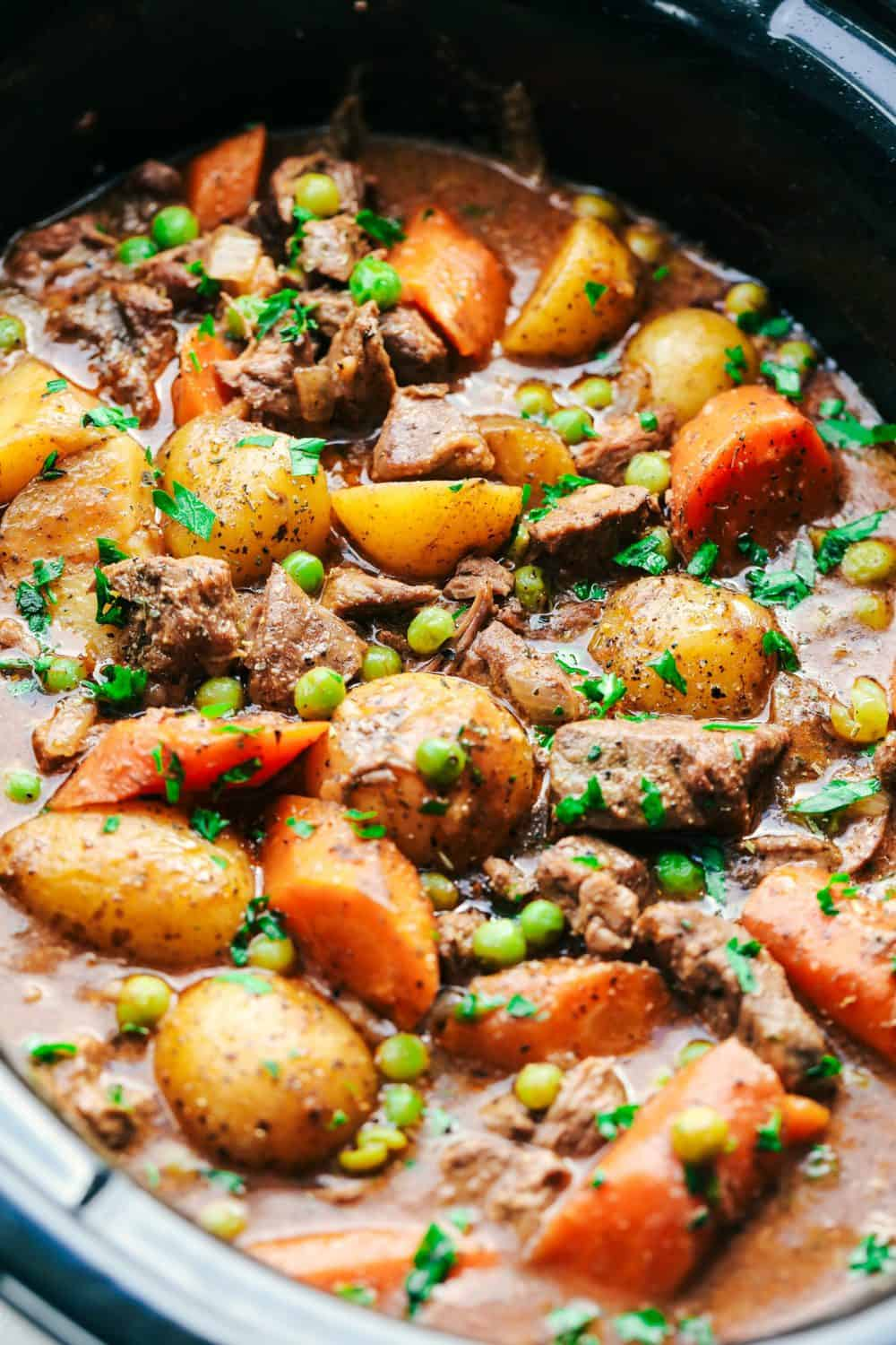 Best Ever Slow Cooker Beef Stew in a slow cooker.