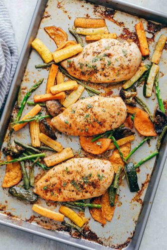 Sheet Pan Garlic Paprika Chicken and Veggies is the perfect one pan dish that is full of flavour. You'll have dinner ready in 30 minutes with minimal clean - up.