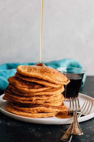 Maple Sweet Potato Pancakes.These maple sweetened sweet potato pancakes are so thick and fluffy. Not to mention perfectly spiced and flavorful.