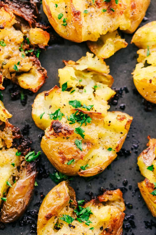 Garlic Ranch Smashed Potatoes on a tray.