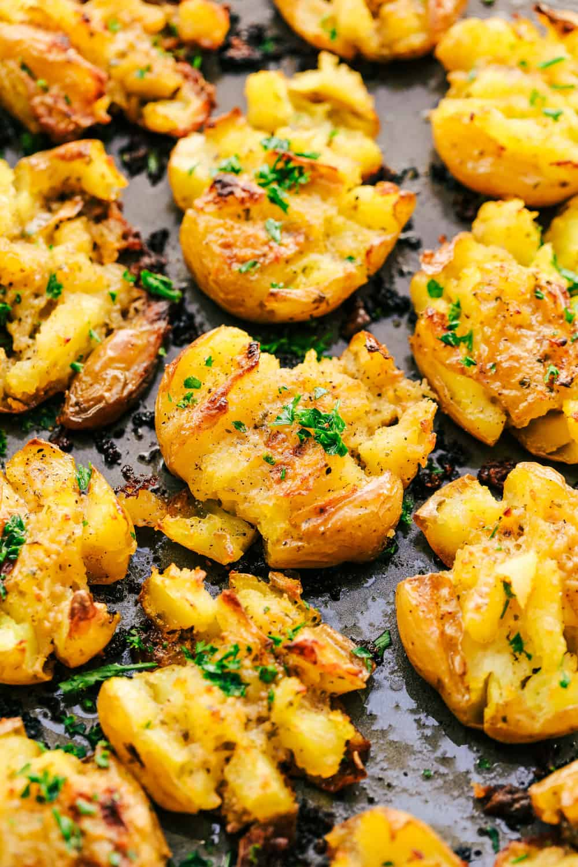 Garlic Ranch Smashed Potatoes on a pan.