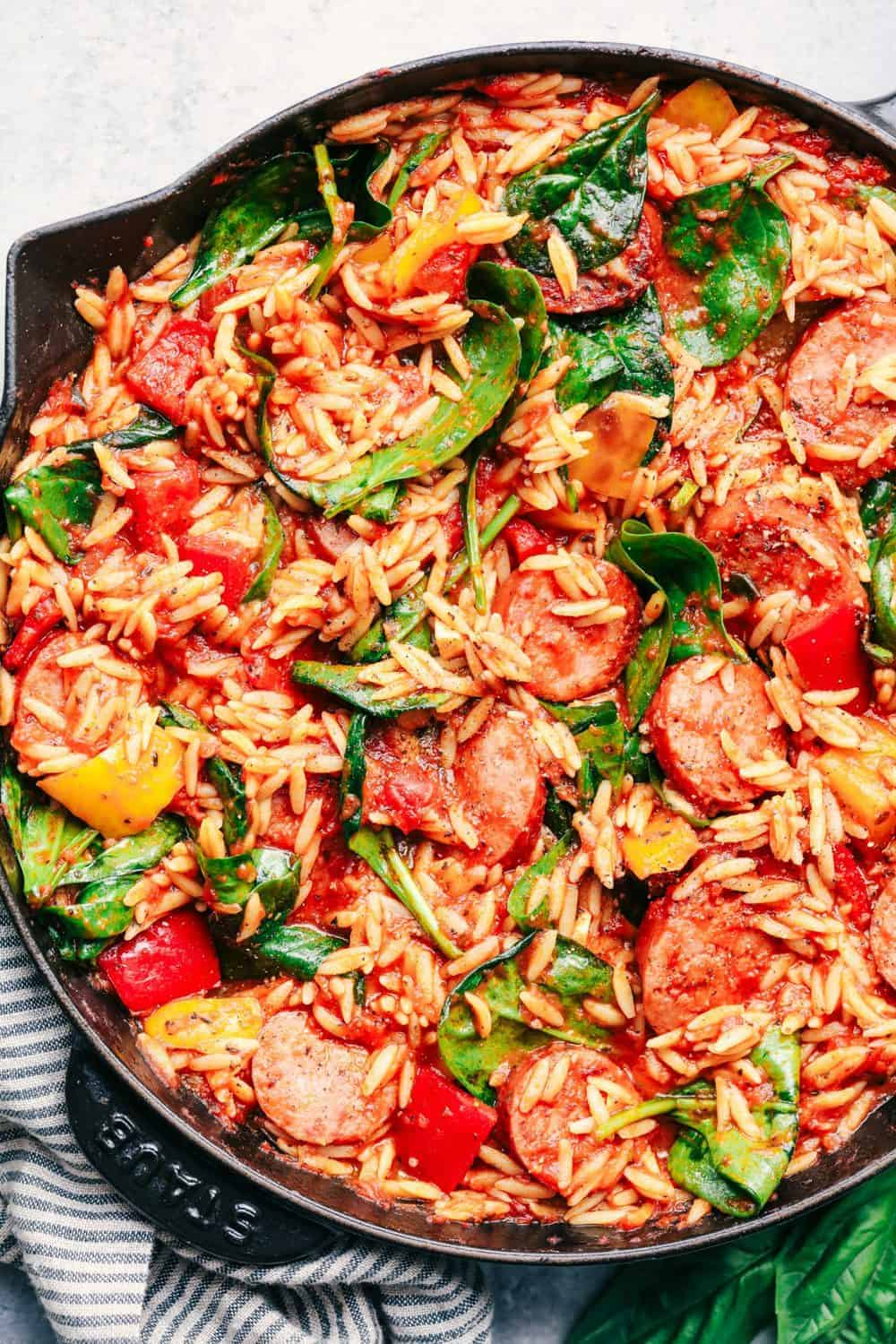 Italian Sausage and Vegetable Orzo Skillet.