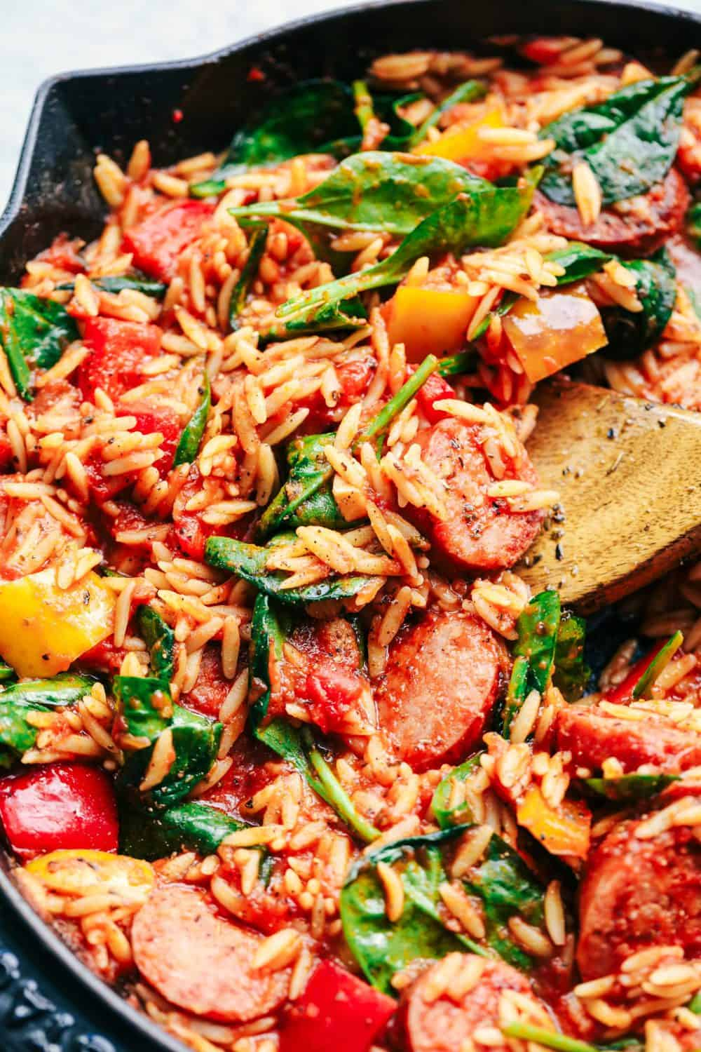 Italian Sausage and Vegetable Orzo Skillet
