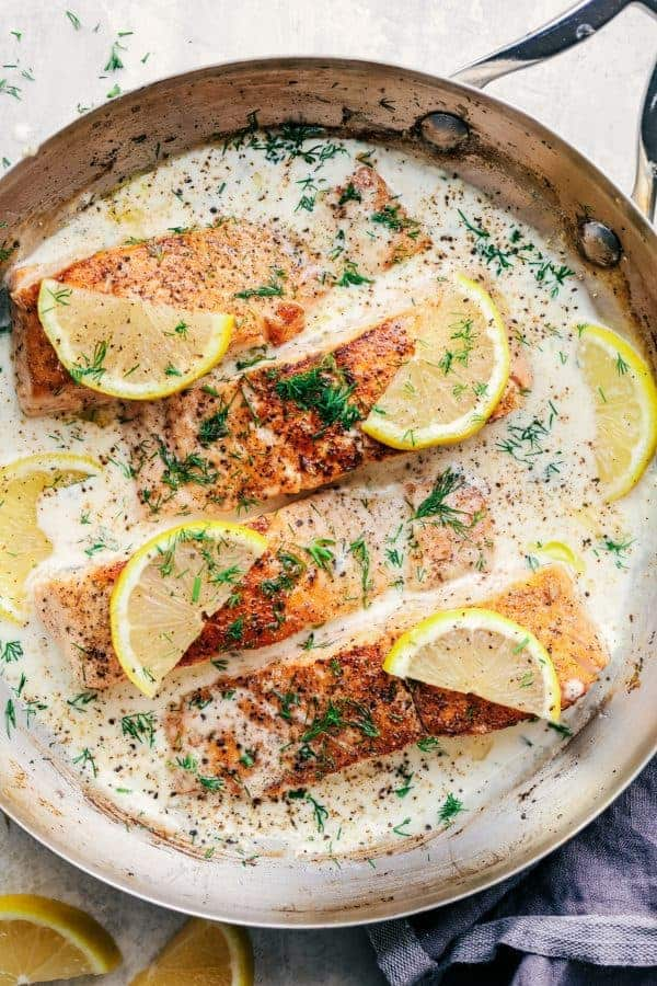 Pan seared salmon with a creamy lemon dill sauce the for Dill sauce for fish