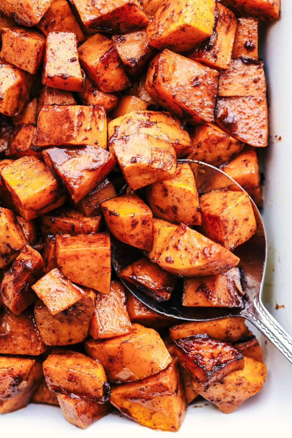 Spoonful of Roasted Honey Cinnamon Butter Sweet Potatoes.