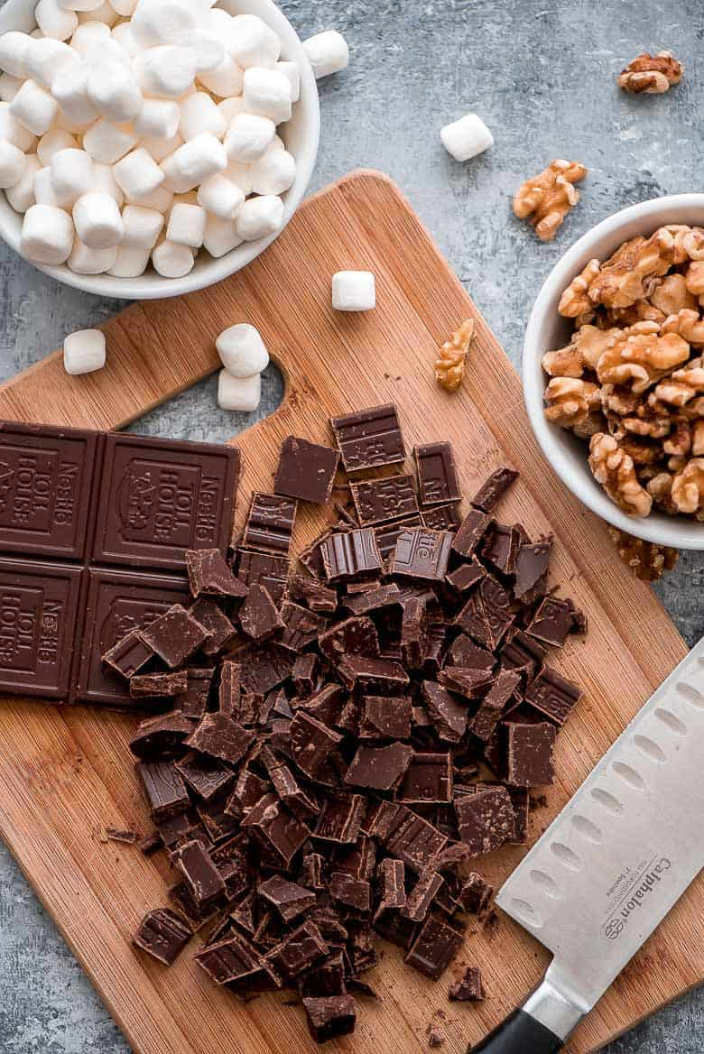 These rich Rocky Road Chocolate Cookie ingredients.