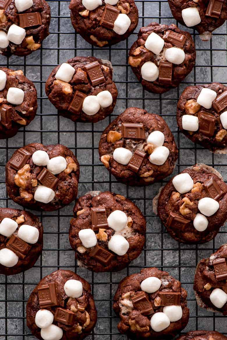 These rich Rocky Road Chocolate Cookies on a baking sheet.