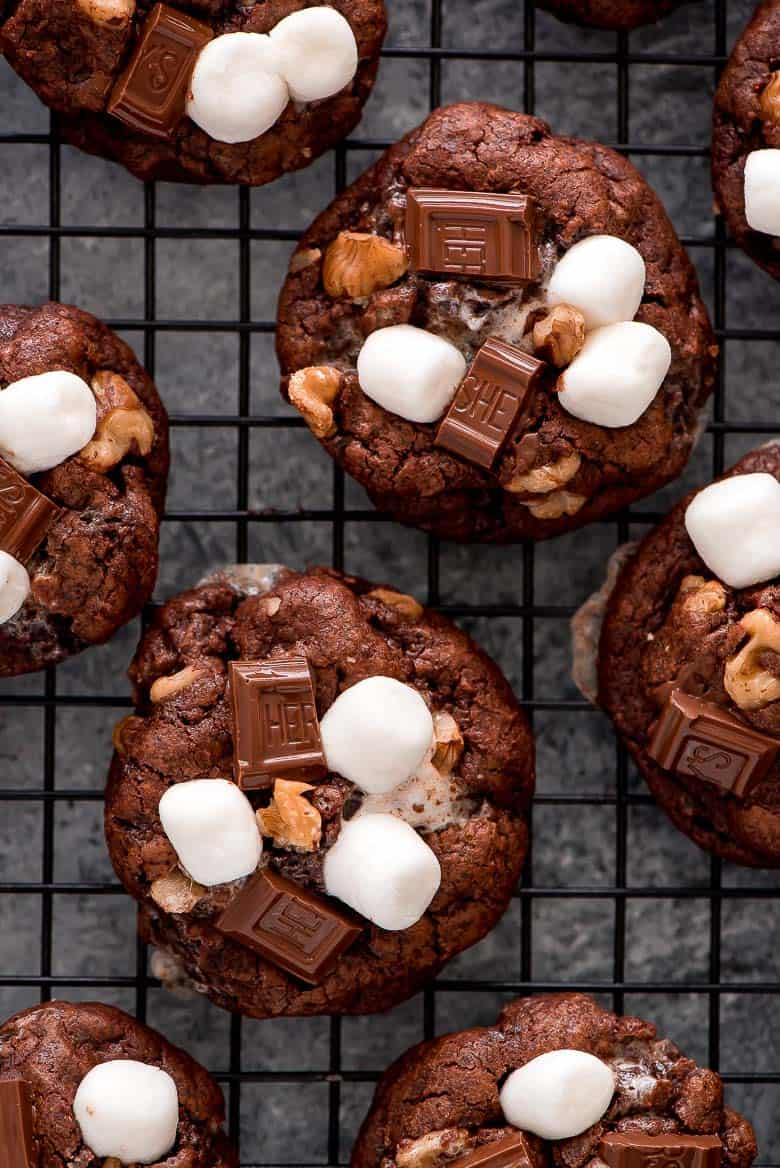 These rich Rocky Road Chocolate Cookies on a cooling rack.