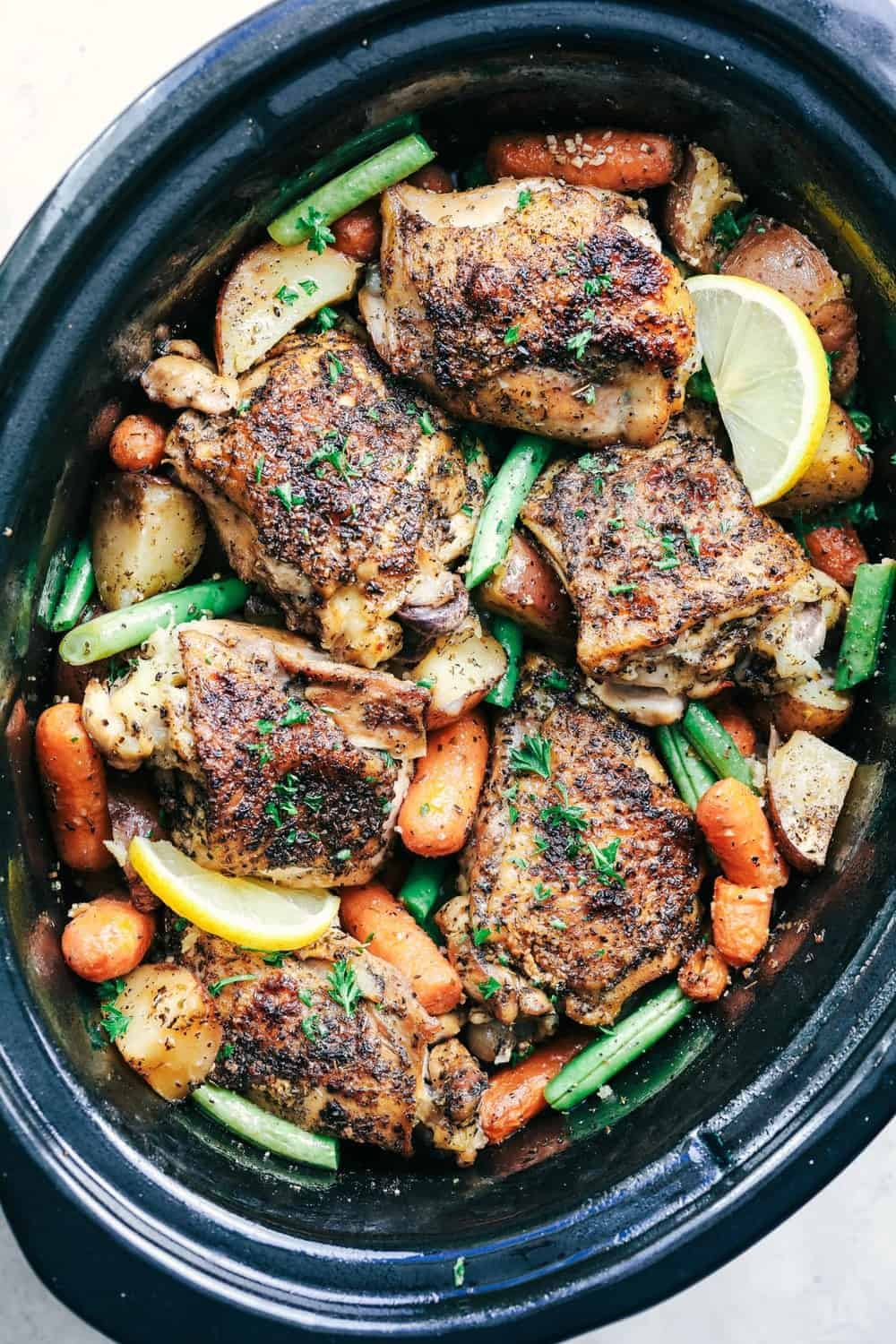 Slow Cooker Lemon Garlic Chicken Thighs and Veggies | The ...