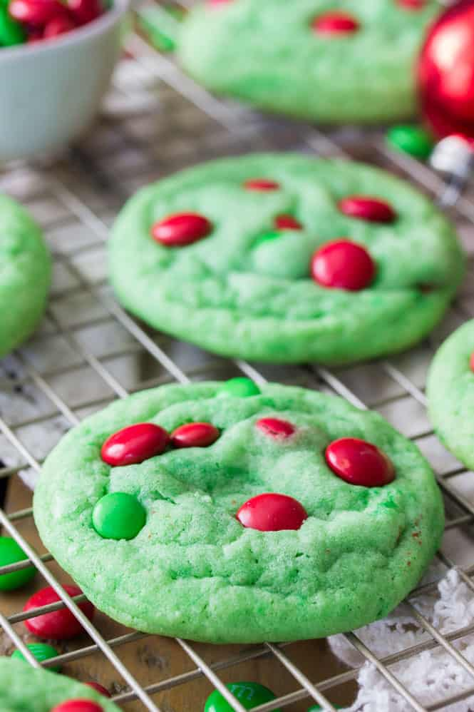 Grinch Cookies on a cooling rack.