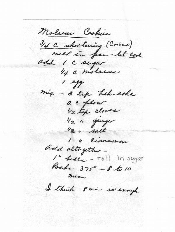 Handwritten recipe for molasses cookies.
